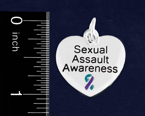 12 Sexual Assault Awareness Retractable Heart Charm Bracelets (12 Bracelets) - Fundraising For A Cause