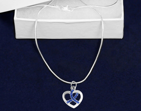 12 Silver Heart Crystal Dark Blue Ribbon Necklaces (12 Necklaces) - Fundraising For A Cause