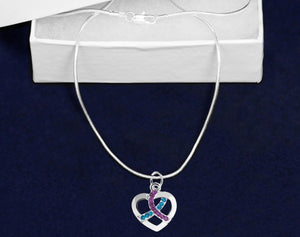 12 Silver Heart Crystal Teal & Purple Ribbon Necklaces (12 Necklaces) - Fundraising For A Cause