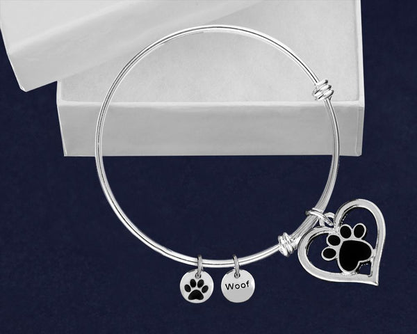 12 Silver Heart w/Black Paw Retractable Charm Bracelets (12 Bracelets) - Fundraising For A Cause