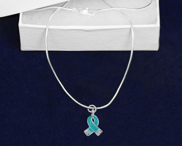 12 Small Teal Ribbon Necklaces (12 Necklaces) - Fundraising For A Cause