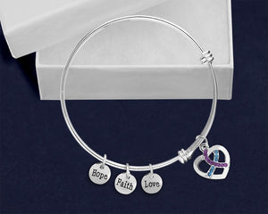 12 Teal & Purple Crystal Ribbon Retractable Charm Bracelets (12 Bracelets) - Fundraising For A Cause