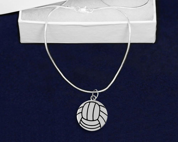 12 Volleyball Shaped Charm Necklaces (12 Necklaces) - Fundraising For A Cause