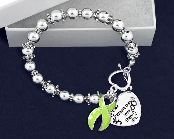 12 Where There is Love Lime Green Ribbon Bracelets (12 Bracelets) - Fundraising For A Cause