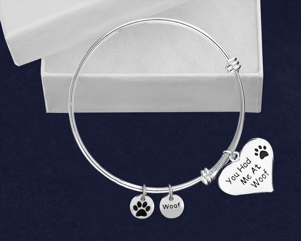 12 You Had Me At Woof Retractable Charm Bracelets (12 Bracelets) - Fundraising For A Cause