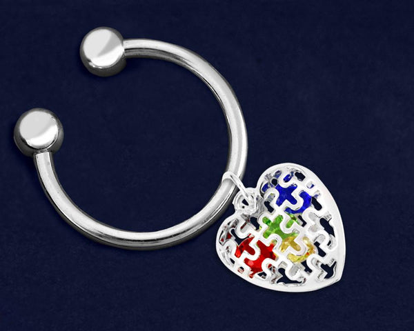 24 Autism Puzzle Piece Caged Heart Key Chains (24 Autism Key Chains) - Fundraising For A Cause