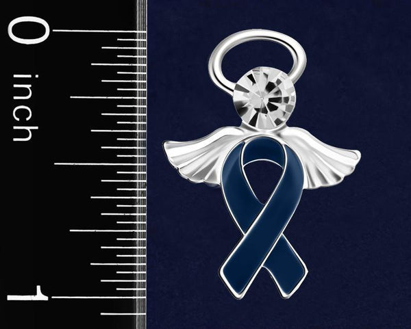 25 Angel Dk Blue Ribbon Awareness Pins (25 Pins) - Fundraising For A Cause
