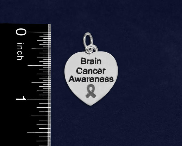 25 Brain Cancer Awareness Heart Charms (25 Charms) - Fundraising For A Cause
