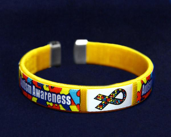 25 Bulk Autism Awareness Bangle Bracelets - Adult (25 Autism Bracelets) - Fundraising For A Cause