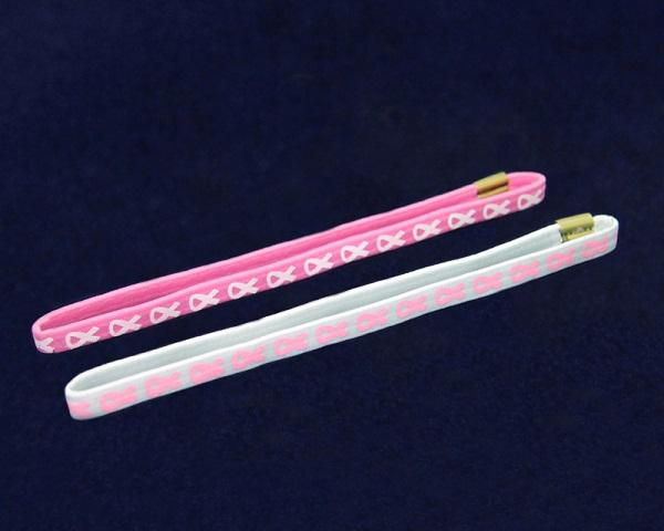 25 Cards of Breast Cancer Pink Ribbon Stretch Headbands (25 Cards) - Fundraising For A Cause