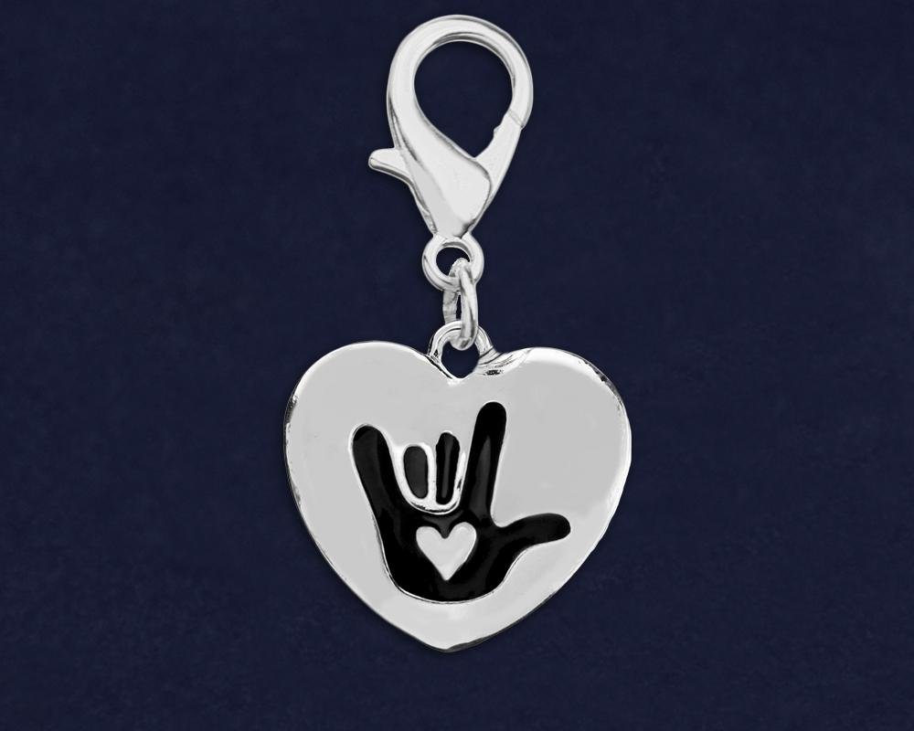 Deaf Awareness Heart Hanging Charms - Fundraising For A Cause