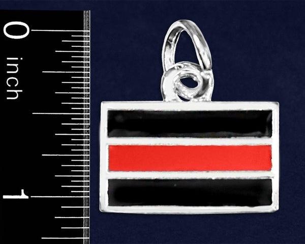 25 Firefighter Rectangle Red Line Charms (25 Charms) - Fundraising For A Cause