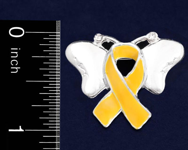 25 Gold Ribbon Childhood Cancer Awareness Butterfly Pins (25 Pins) - Fundraising For A Cause