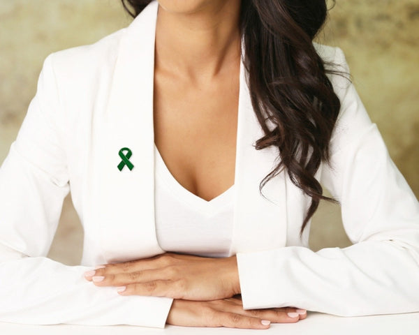 25 Green Ribbon Awareness Pins (25 Pins) - Fundraising For A Cause