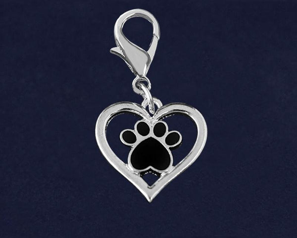25 Heart with Black Paw Hanging Charms (25 Charms) - Fundraising For A Cause