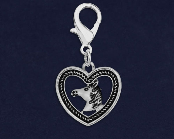 25 Horse Head in Heart Hanging Charms (25 Charms) - Fundraising For A Cause