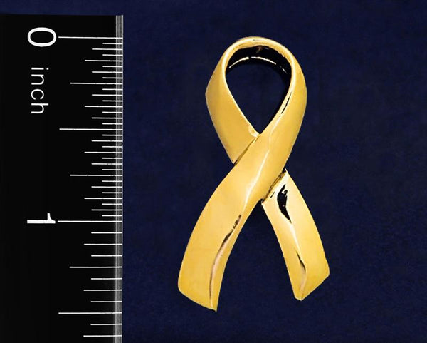 25 Large Gold Childhood Cancer Ribbon Pins (25 Pins) - Fundraising For A Cause