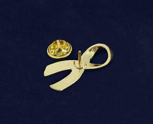 Large Gold Childhood Cancer Ribbon Pins - Fundraising For A Cause