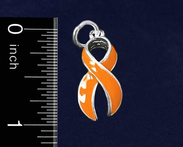 25 Large Orange Ribbon Charms (25 Charms) - Fundraising For A Cause