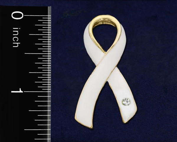 25 Large White Ribbon Pins (25 Pins) - Fundraising For A Cause