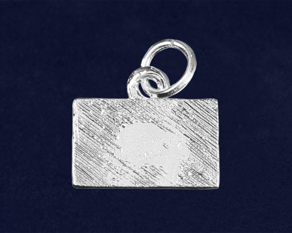 25 Law Enforcement Rectangle Blue Line Charms (25 Charms) - Fundraising For A Cause