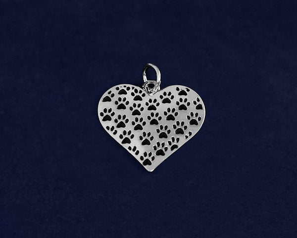 25 Multi Paw Print Heart Charms (25 Charms) - Fundraising For A Cause