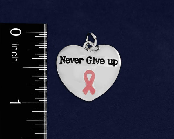 25 Never Give Up Pink Ribbon Charms (25 Charms) - Fundraising For A Cause