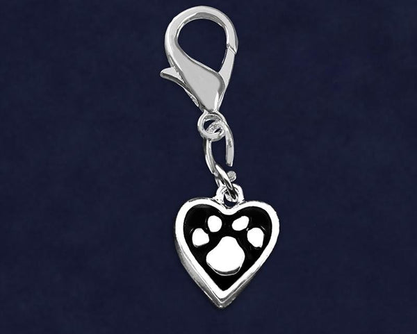 25 Paw Print Heart Hanging Charms (25 Charms) - Fundraising For A Cause