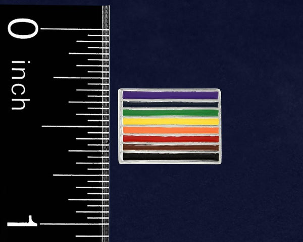 25 Philadelphia 8 Stripe Pride Rainbow Rectangle Pins (25 Pins) - Fundraising For A Cause