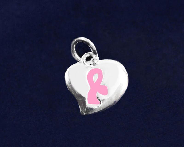 25 Puffed Heart Pink Ribbon Charms (25 Charms) - Fundraising For A Cause