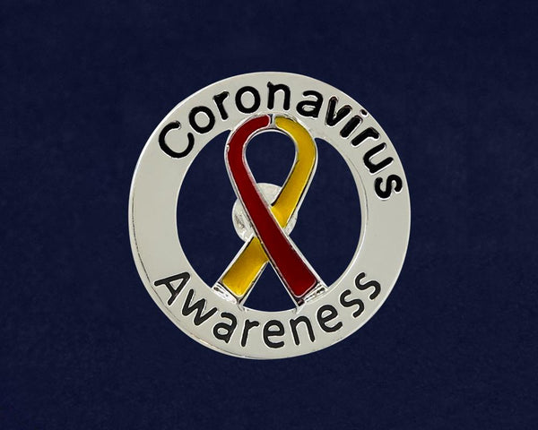 25 Round Coronavirus Disease (COVID-19) Red & Yellow Ribbon Pins (25 Pins) - Fundraising For A Cause