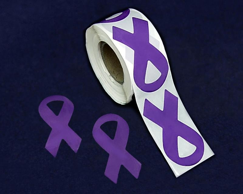 250 Large Purple Ribbon Stickers (250 Stickers) - Fundraising For A Cause