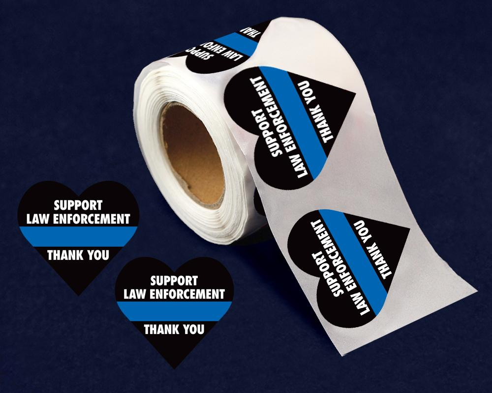 250 Support Law Enforcement Heart Stickers (250 Stickers) - Fundraising For A Cause