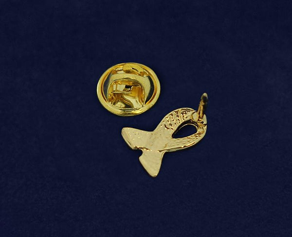 50 Lapel Gold Ribbon Pins (50 Pins) - Fundraising For A Cause