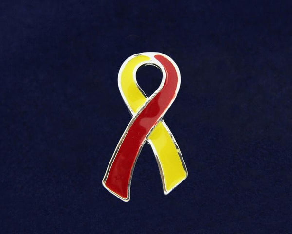 50 Large Flat Red & Yellow Ribbon Pin (50 Pins) - Fundraising For A Cause
