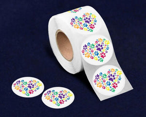 500 Rainbow Paw Print Heart Stickers (500 Stickers) - Fundraising For A Cause