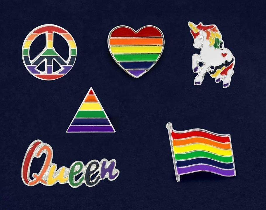 6 Piece Rainbow Pride Pin Bundle - Fundraising For A Cause