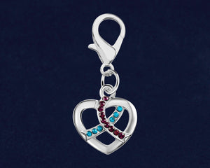 Silver Heart Crystal Teal & Purple Ribbon Hanging Charms - Fundraising For A Cause