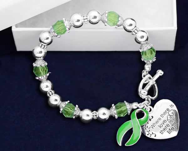 12 Where There is Love Green Ribbon Bracelets (12 Bracelets)