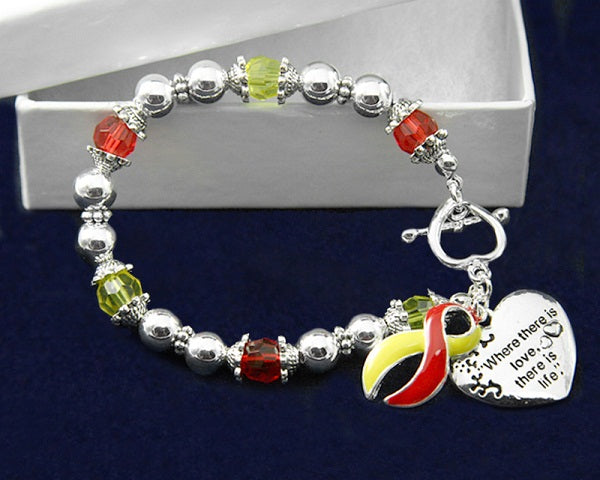 12 Where There is Love Red & Yellow Ribbon Bracelets (12 Bracelets)