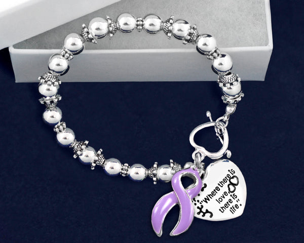 12 Where There is Love Epilepsy Ribbon Bracelets (12 Bracelets)