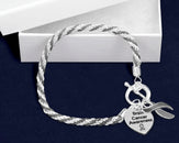 12 Brain Cancer Gray Ribbon Rope Bracelets (12 Bracelets)
