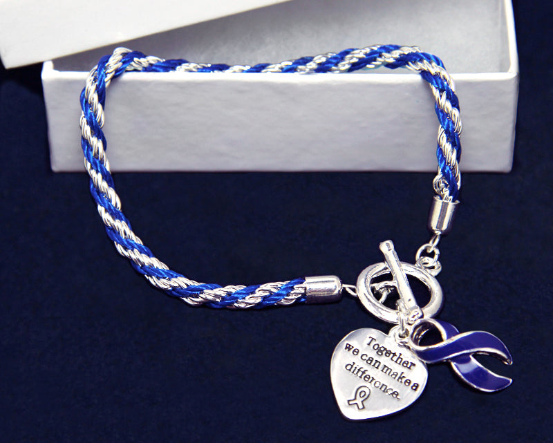 Rope Dark Blue Ribbon Bracelets - Fundraising For A Cause, Colon Cancer Awareness