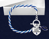 12 Colon Cancer Dk Blue Ribbon Rope Bracelets (12 Bracelets)