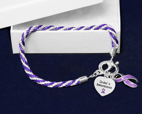 12 Crohn's Disease Purple Ribbon Rope Bracelets (12 Bracelets)