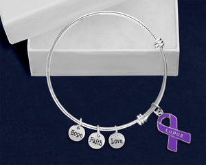 Lupus Awareness Purple Ribbon Retractable Charm Bracelets - Fundraising For A Cause