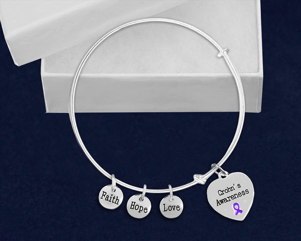 12 Crohn's Disease Heart Retractable Charm Bracelets (12 Bracelets)