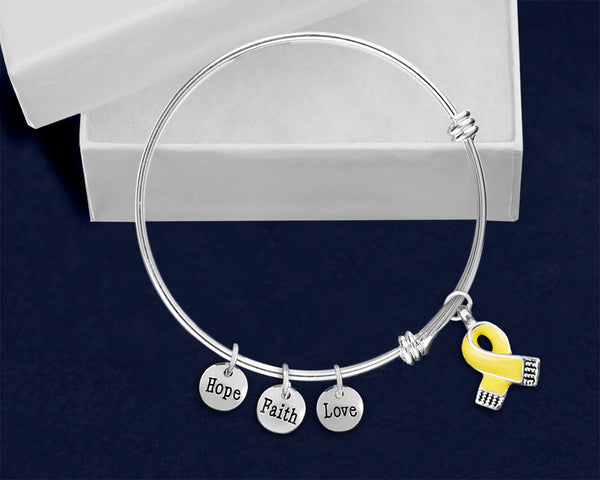 12 Yellow Ribbon Retractable Charm Bracelets (12 Bracelets) - fundraisingforacausecom