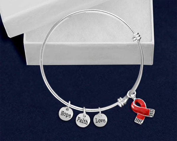 12 Red Ribbon Retractable Charm Bracelets (12 Bracelets)
