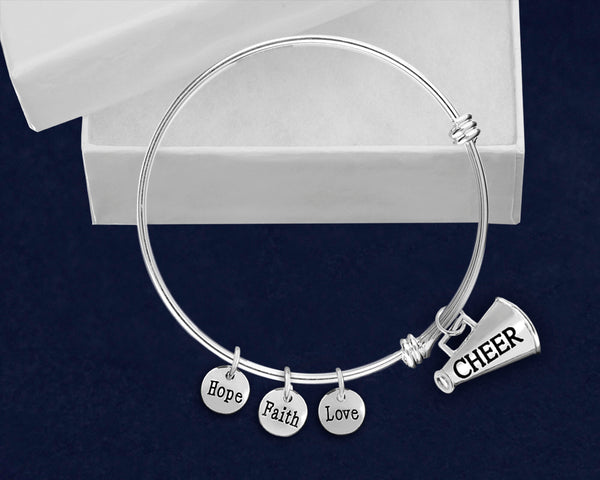 12 Cheerleading Megaphone Retractable Charm Bracelets (12 Bracelets)
